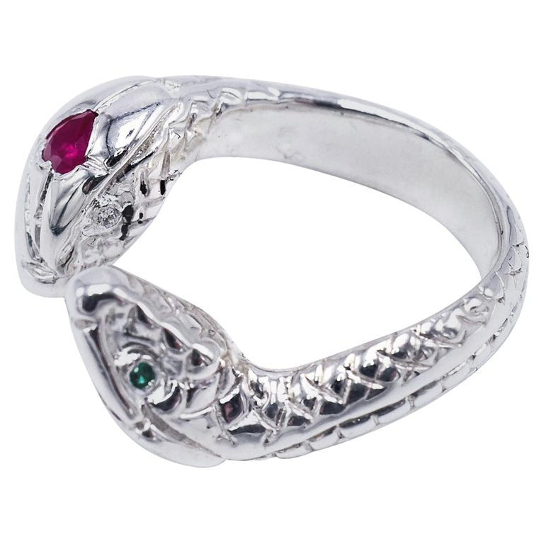 White Diamond Heart Ruby Emerald Snake Ring Silver