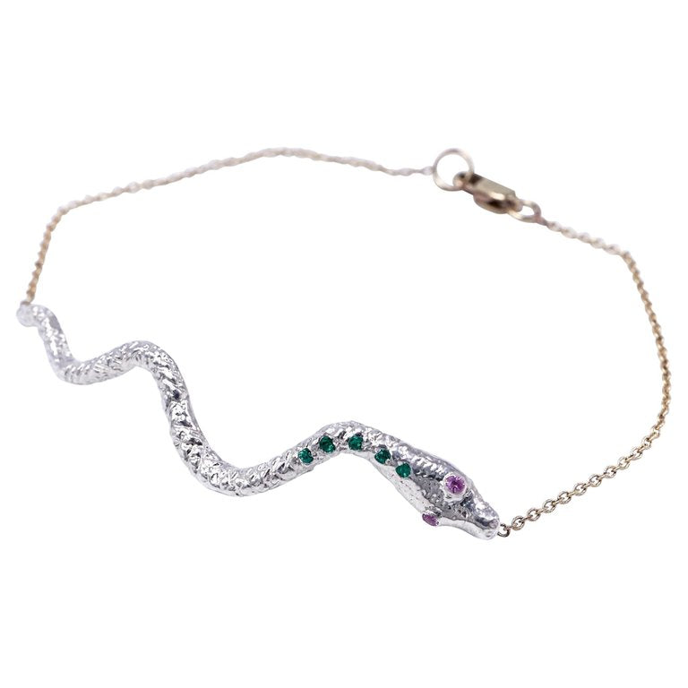 If You Knew Snake Bracelet Silver Emerald Pink Sapphire