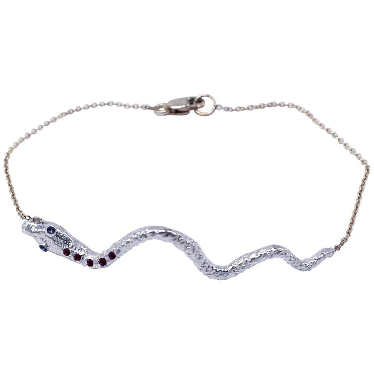 If You Knew Snake Bracelet Silver Iolite Ruby