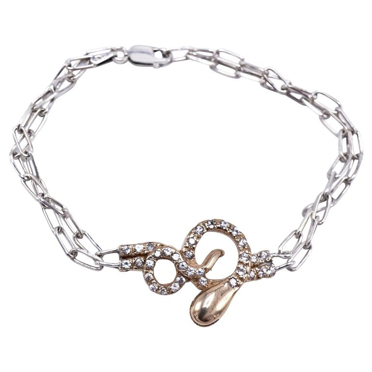 Sparkle Companion - Snake Bracelet Gold White Diamond