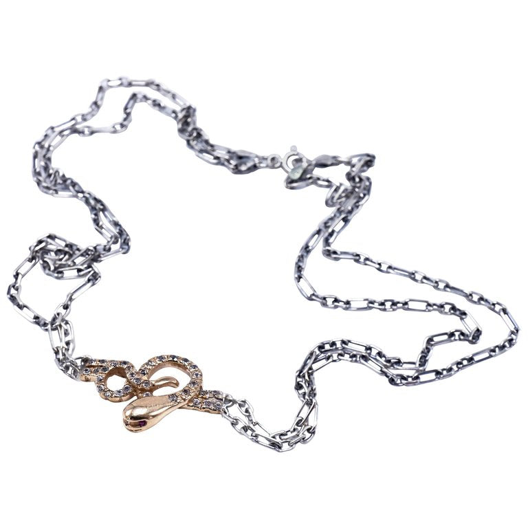 White Diamond Choker Chunky Chain Necklace Snake Gold