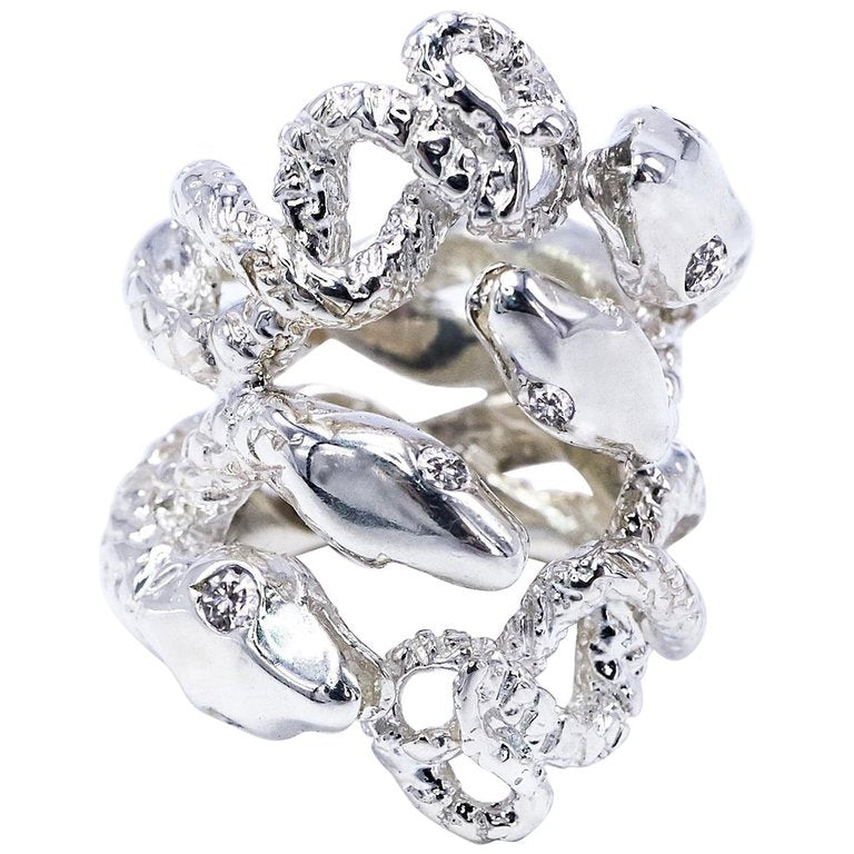 White Diamond Sterling Silver Four Head Snake Ring
