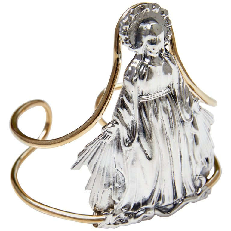 Virgin Mary Statement Cuff Silver Brass