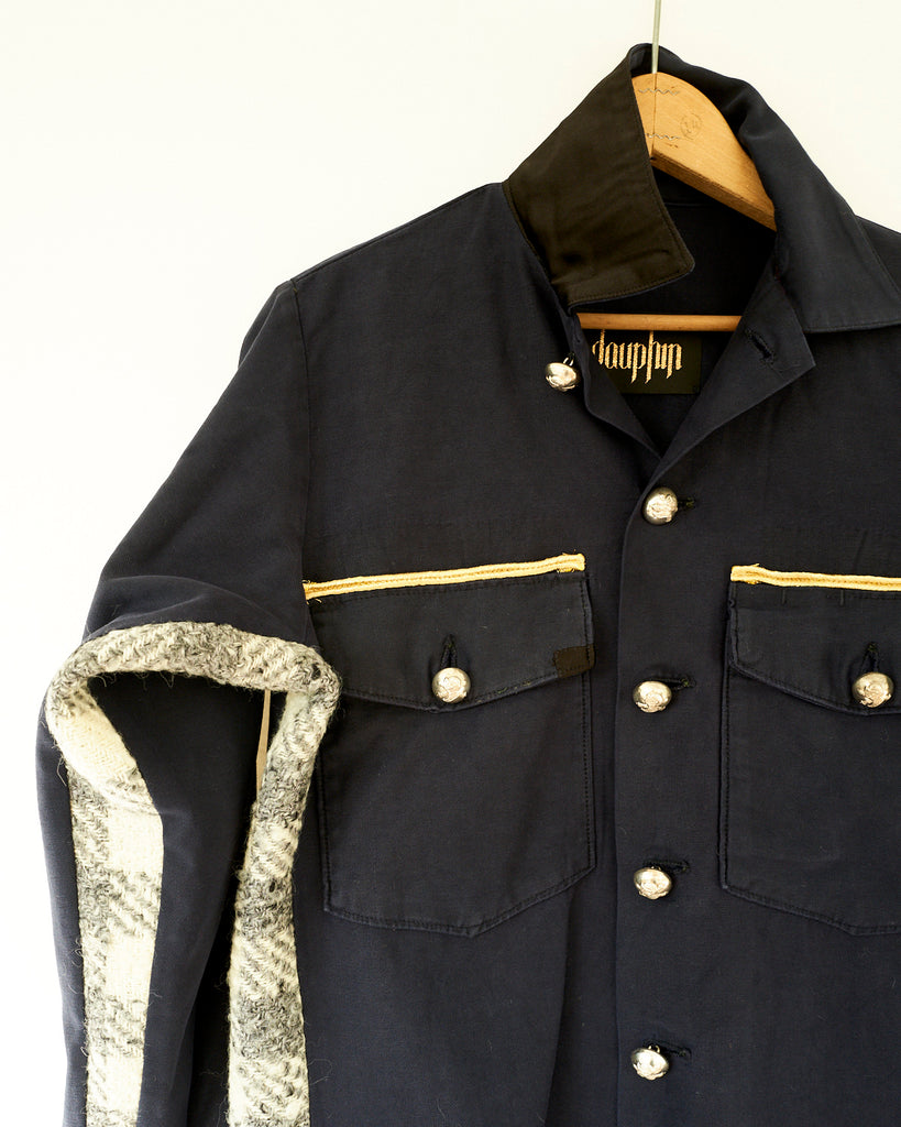 J Dauphin Dark Blue Military Jacket Grey Wool Gold Braid