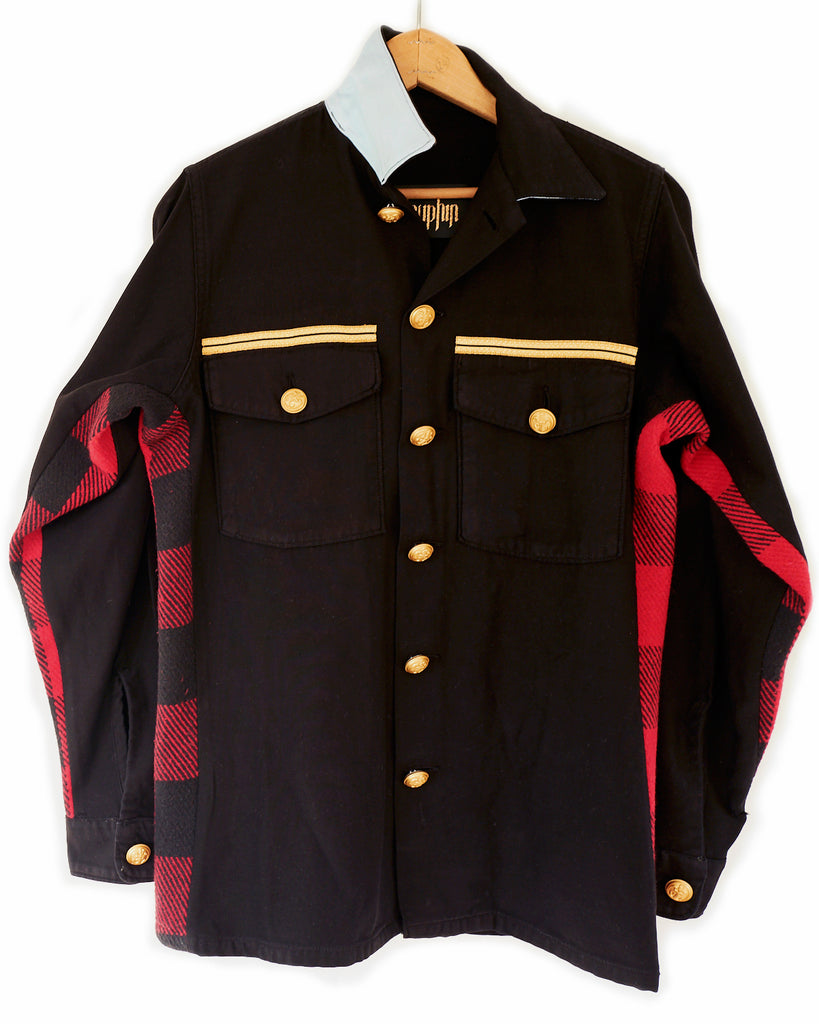 J Dauphin Black Military Jacket Red Wool Flannel Gold Buttons