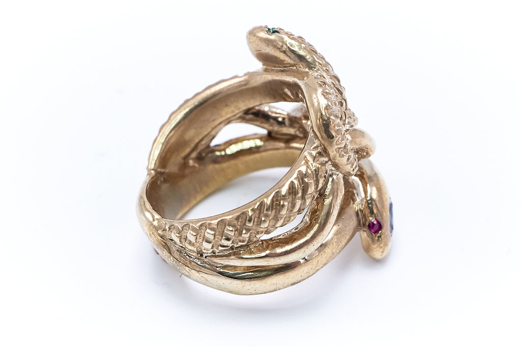 Eternal Renewal Snake Ring Bronze White Sapphire Ruby Emerald