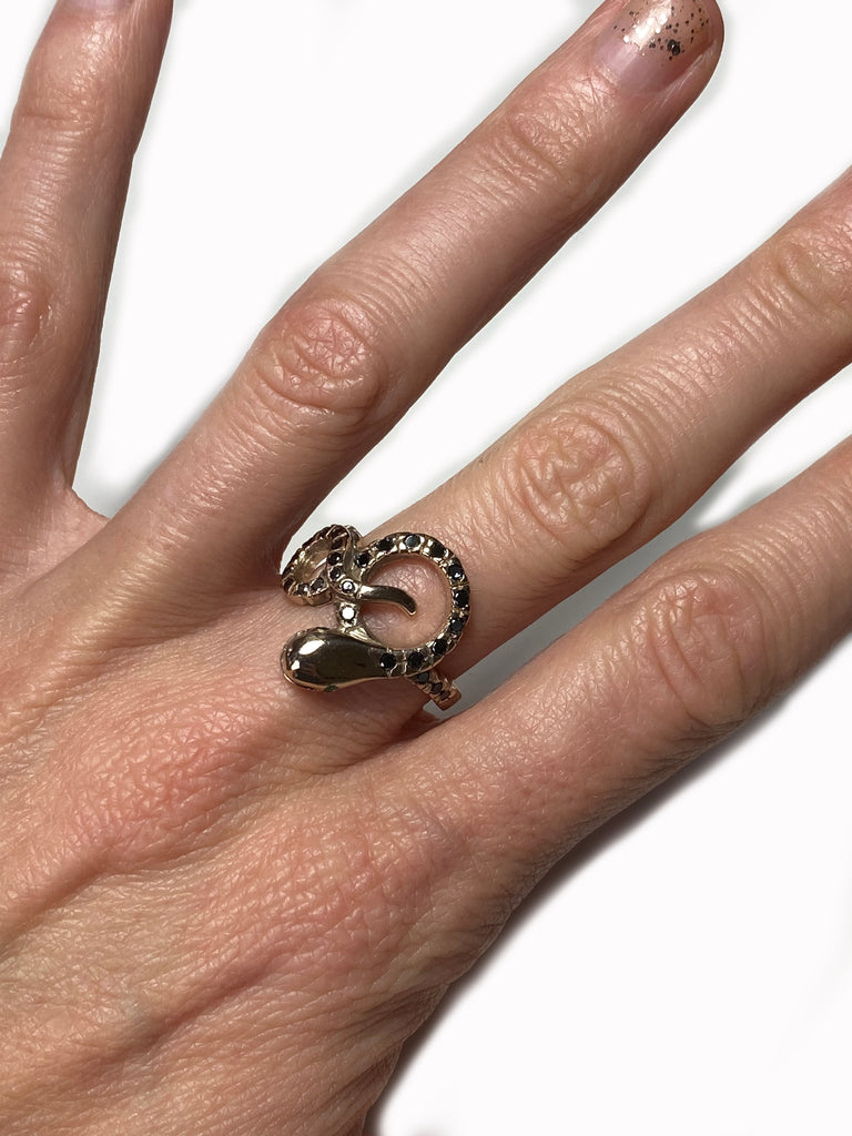 True Love Turtle Dove Ring Black Diamond Emerald Bronze