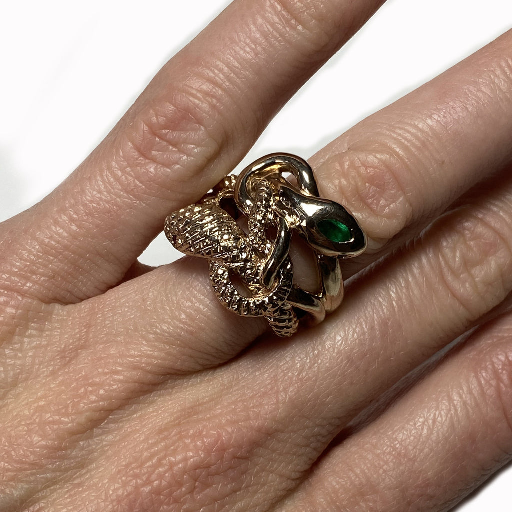 Eternal Renewal Snake Ring Bronze Emerald Ruby Aquamarine