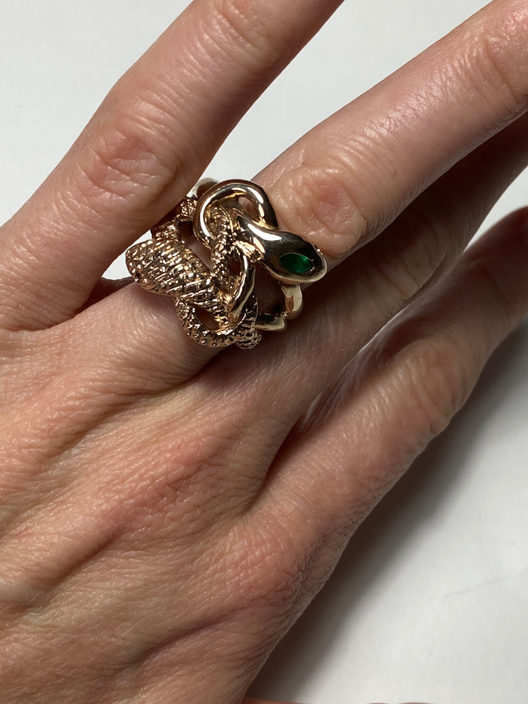 Emerald Aquamarine Double Head Snake Ring