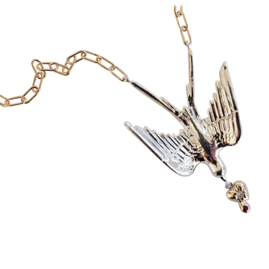 Fallen Dove Necklace Silver Gold heart Ruby White Diamond