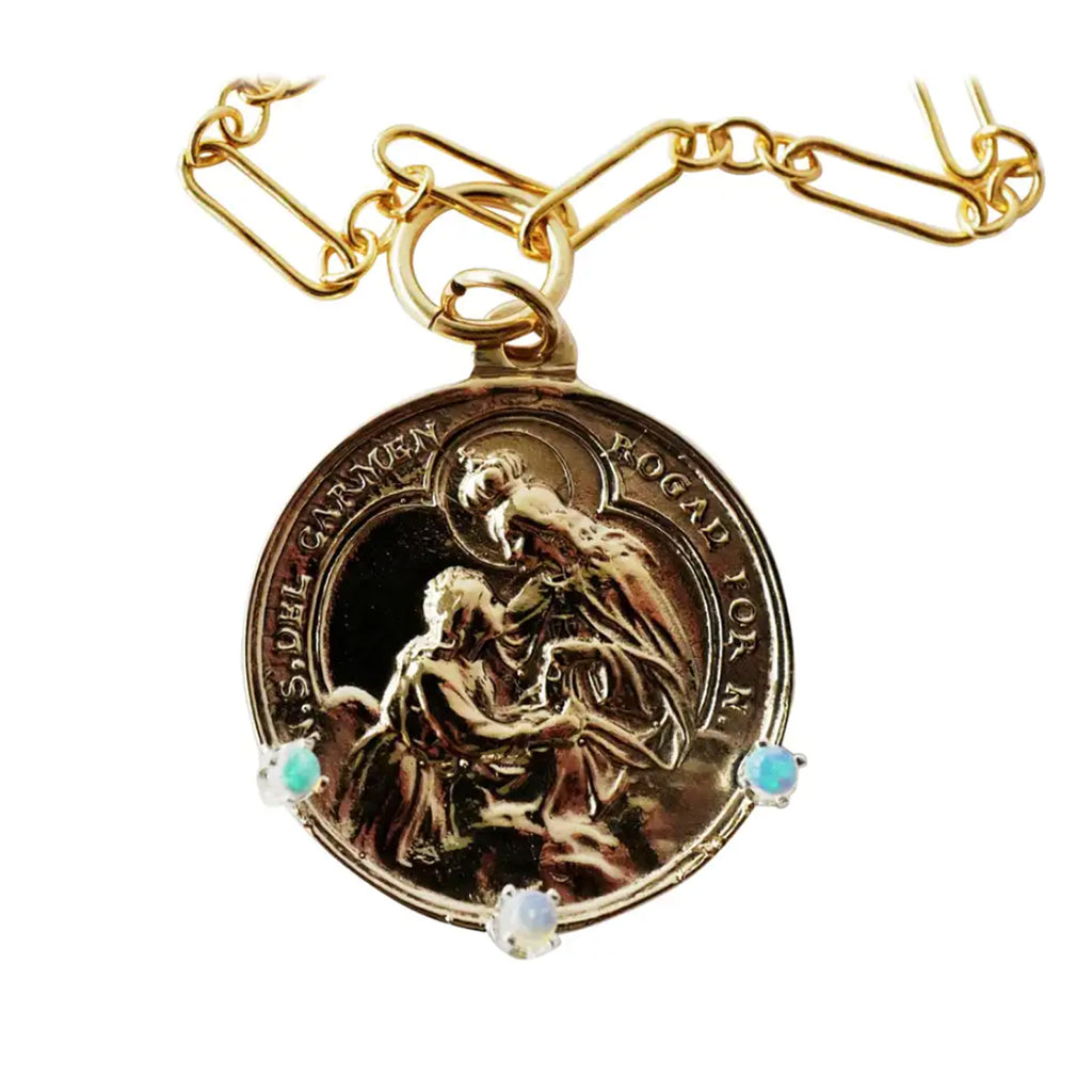 Opal Virgin Mary Necklace  Medal Bronze
