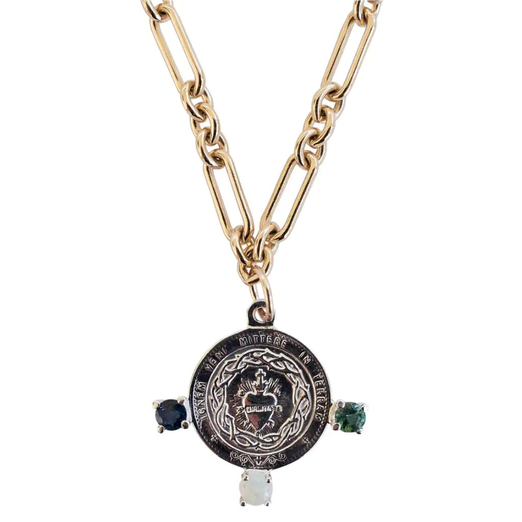 Tourmaline Opal Virgin Mary Silver Medal Chain Necklace