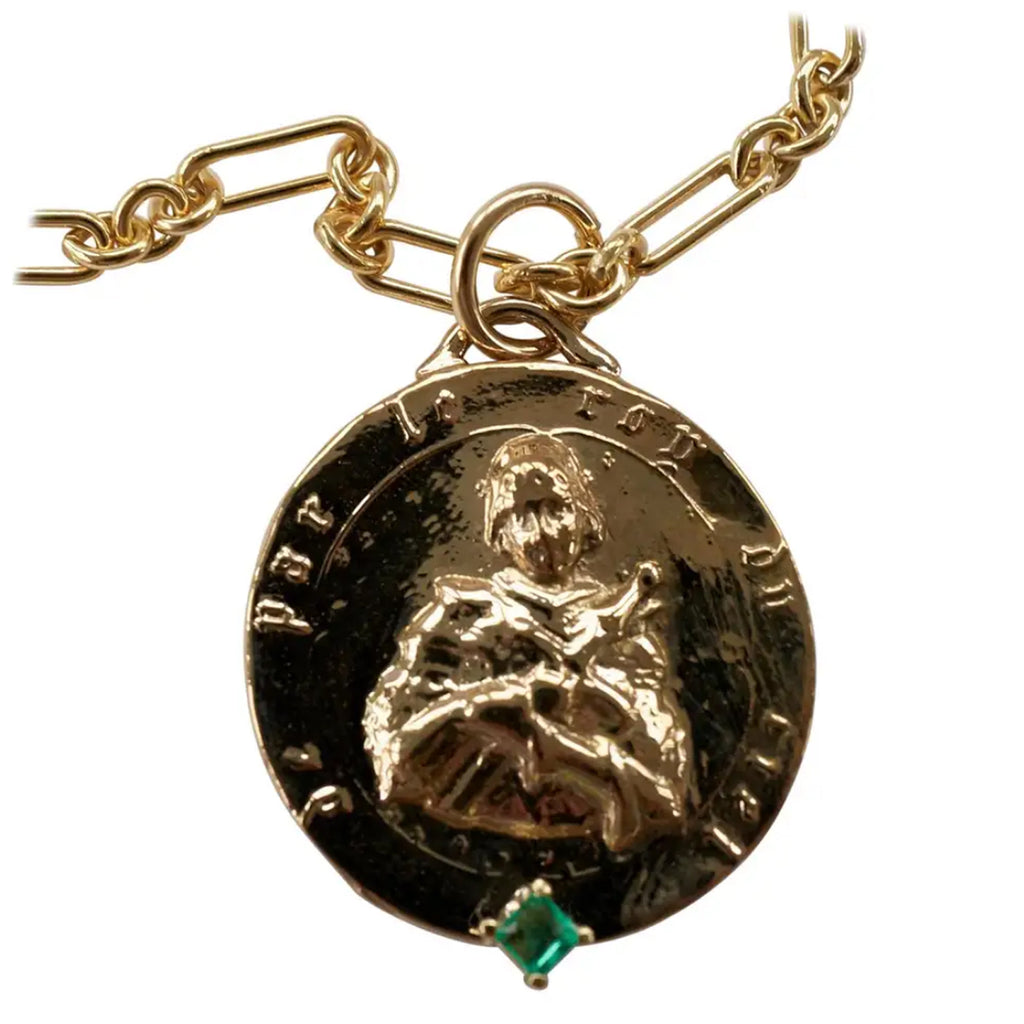 Joan of Arc Bronze Medal Coin Emerald Chain Necklace
