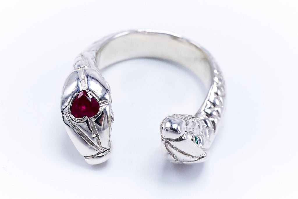 Toujours Mon Coeur - Snake Silver Ring Ruby Heart Emerald Eyes Adjustable