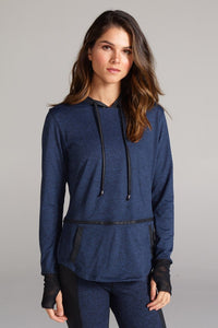 CHICHI Veronica Hooded Pullover Heather Dye Navy