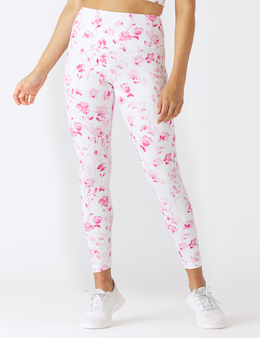 GLYDER High Power Legging: Watercolor Roses Knockout Pink
