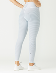 GLYDER TRUE LEGGING: WHITE / DARK TEAL STRIPE