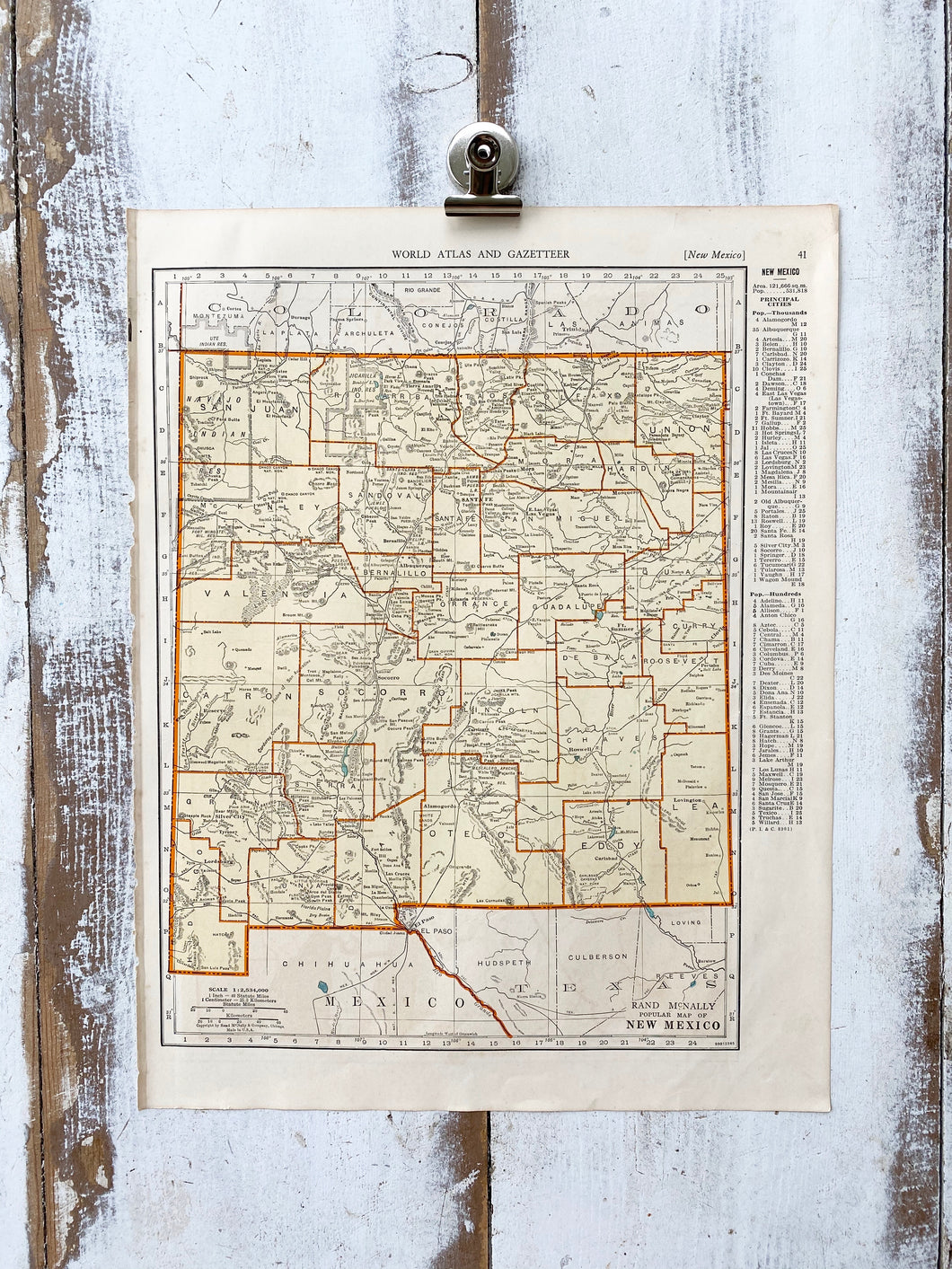 New York / New Mexico Vintage Map