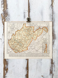 West Virginia / Wisconsin Vintage Map