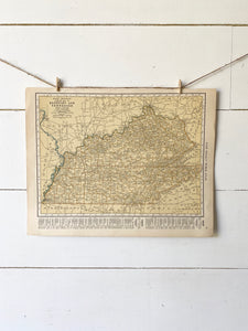 Tennessee/Kentucky Vintage Map