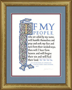 "II Chronicles 7:14 NIV, Gold Frame & Sky Blue Mat 16"" x 20"""