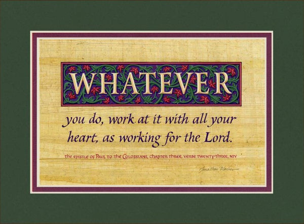 "Colossians 3:23 NIV, Forest Green Mat 9"" x 12"""