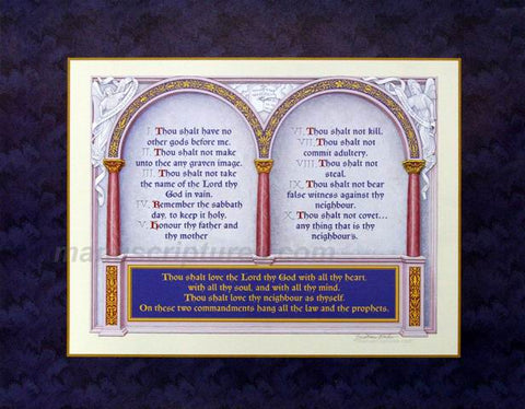 "The Great Commandments Print, Exodus 20:1-17, Matthew 22:37-40   - KJV, Print Only on 11"" x 14"" Card Stock"