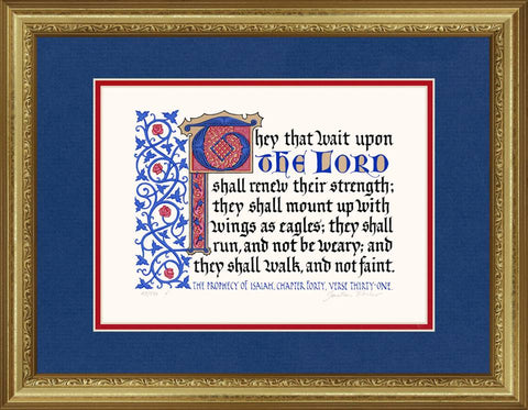 "Isaiah 40:31 KJV, Gold Frame & Royal Blue Mat & Red Liner 14"" x 18"""