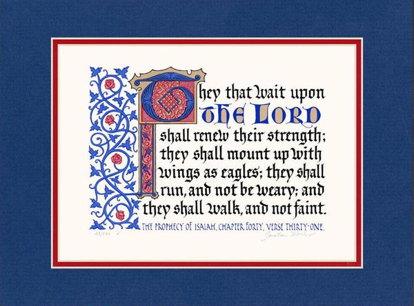 "Isaiah 40:31 KJV, Royal Blue Mat & Red Liner 12"" x 16"""
