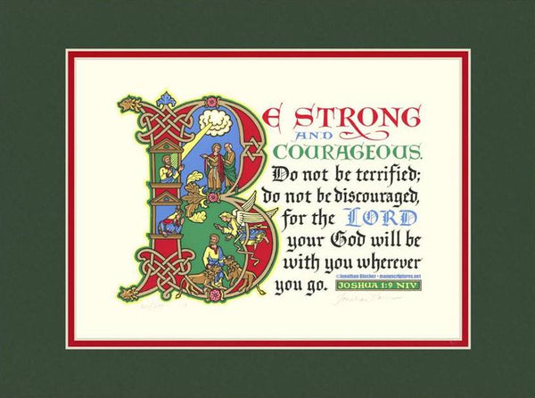 "Joshua 1:9 NIV, Forest Green Mat & Red Liner 12"" x 16"""