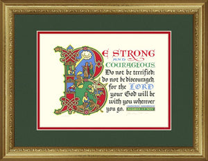 "Joshua 1:9 NIV, Gold Frame & Forest Green Mat &  Red Liner 14"" x 18"""