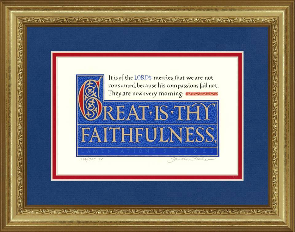 "Lamentations 3:22-23 KJV, Gold Frame & Royal Blue Mat 11"" x 14"""