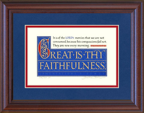 "Lamentations 3:22-23 KJV, Mahogany Frame & Royal Blue Mat 11"" x 14"""
