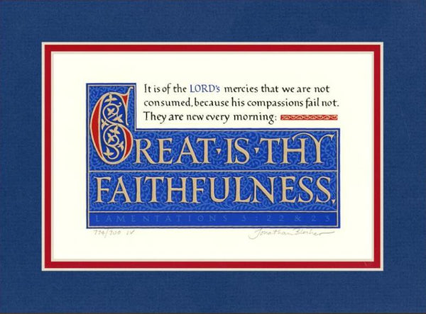 "Lamentations 3:22-23 KJV, Royal Blue Mat 9"" x 12"""