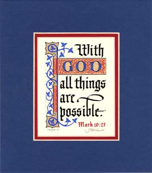 "Mark 10:27 KJV, Royal Blue Mat 7"" x 8"""