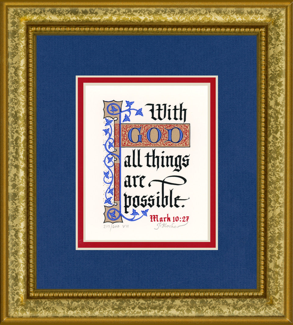 "Mark 10:27 KJV, Gold Frame & Royal Blue Mat 9"" x 10"""