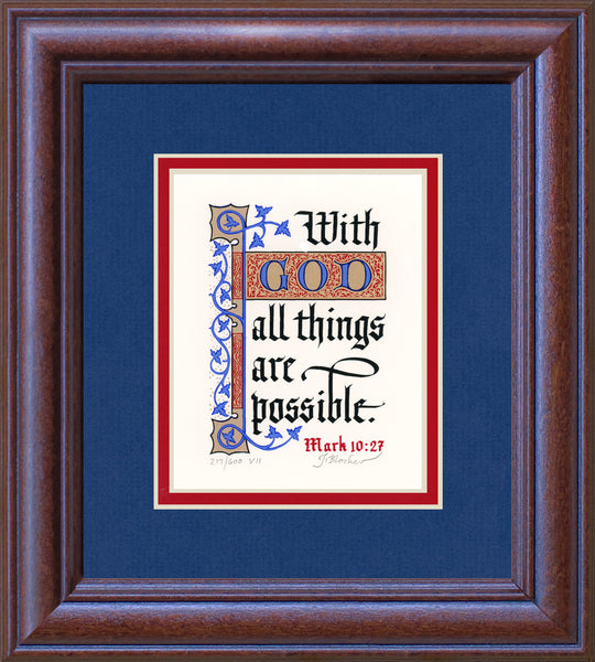 "Mark 10:27 KJV, Mahogany Frame & Royal Blue Mat 9"" x 10"""