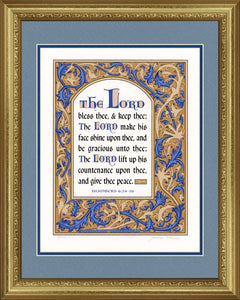 "Numbers 6:24-26 KJV Blue & Tan, Gold Frame & Sky Blue Mat 16"" x 20"""