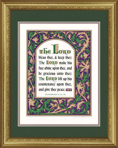 "Numbers 6:24-26 KJV Green & Violet, Gold Frame & Forest Green Mat 16"" x 20"""