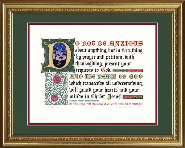 "Philippians 4:6-7 NIV, Gold Frame & Forest Green Mat 16"" x 20"""