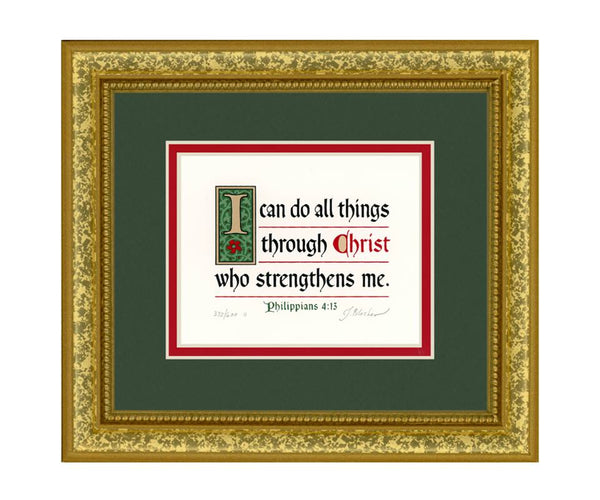 "Philippians 4:13 KJV, Gold Frame & Forest Green Mat & Red Liner 9"" x 10"""