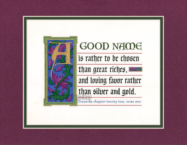 "Proverbs 22:1 KJV, Burgandy Mat & Forest Green Liner 11"" x 14"""