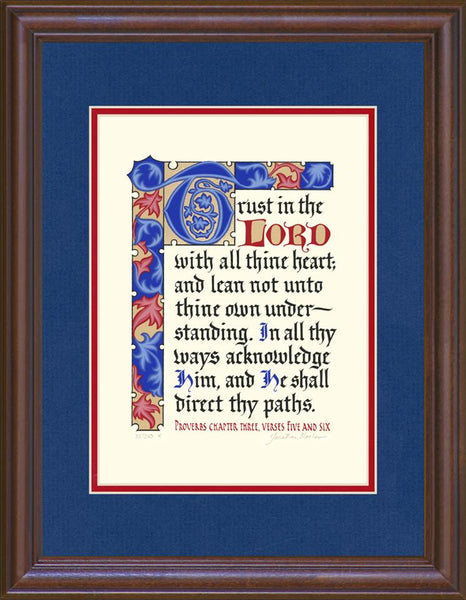 "Proverbs 3:5-6 KJV, Mahogany Frame & Royal Blue Mat & Red Liner 14"" x 18"""