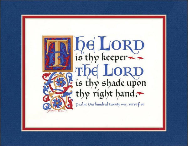 "Psalm 121:5 KJV, Royal Blue Mat 9"" x 12"""