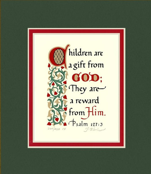 "Psalm 127:3 KJV, Forest Green Mat & Red Liner 8"" x 10"""