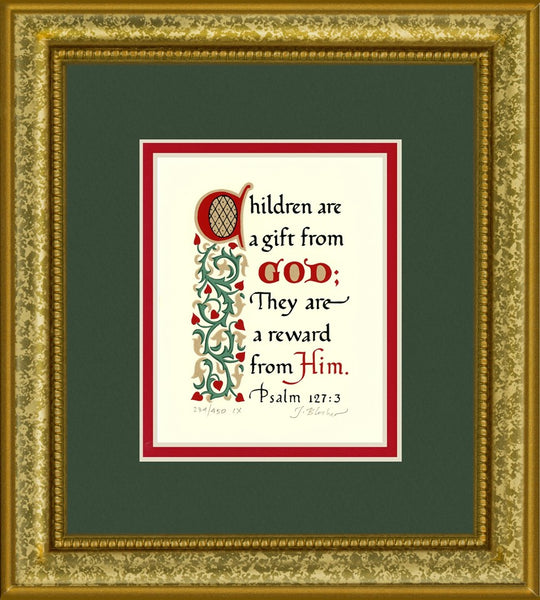 "Psalm 127:3 KJV, Gold Frame & Forest Green Mat & Red Liner 9"" x 10"""