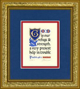 "Psalm 46:1 KJV, Gold Frame & Royal Blue Mat 9"" x 10"""