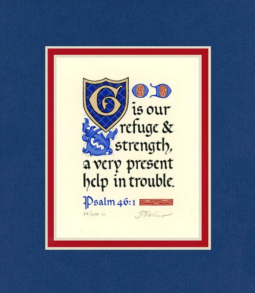 "Psalm 46:1 KJV, Royal Blue Mat 8"" x 10"""