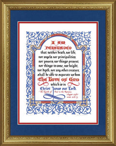 "Romans 8:38-39 KJV, Gold Frame & Royal Blue Mat 16"" x 20"""