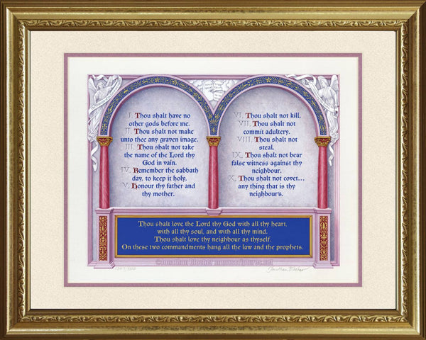 "The Great Commandments Exodus 20:1-17, Matthew 22:37-40, KJV, Gold Frame & Sand Mat 16"" x 20"""